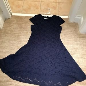 Classy Navy Lace Dress with lining